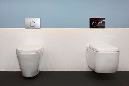 Two Ceramic Toilet Seat in Contemporary Bathroom Stock Photo - 79356246