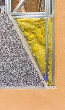 Mineral Wool Insulation in House Wall Stock Photo