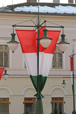 Flag of Hungary at Chandelier Lamp Pols in Szeged Stock fotó