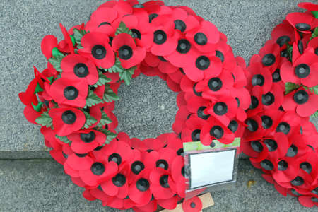 Red Plastic Poppy Flowers Remembrance Wreath Zdjęcie Seryjne