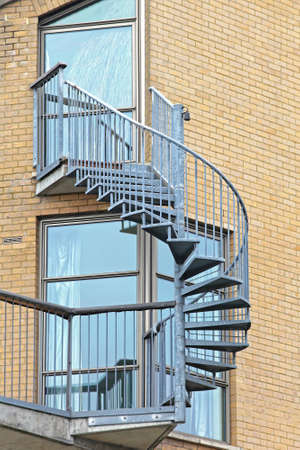 External Spiral Staircase Made From Steel Fire Escape Stock Photo   83952900