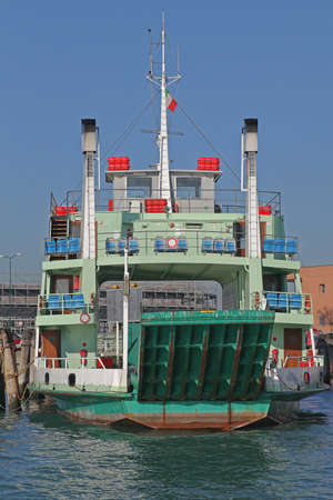 Car Ferry Boat at Dock in Venice