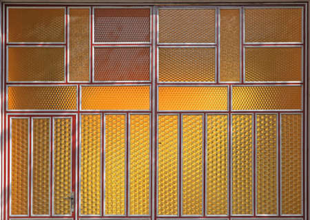 Yellow Privacy Glass Doors With Decorative Structure