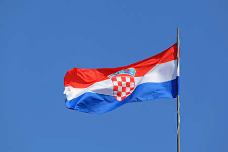 Flag of Croatia Flying at Windy Day Stock Photo