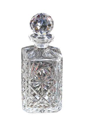 Crystal Bottle For Alcohol Drinks Isolated Stok Fotoğraf