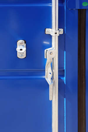 Open Door Latch at Blue Shipping Container