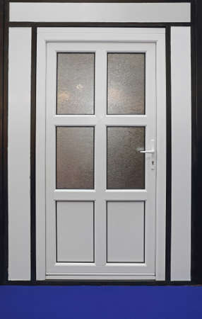 Closed White Upvc Door With Glass Window