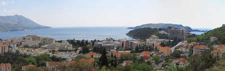 Panoramic of Becici Coast in Montenegro Stock Photo