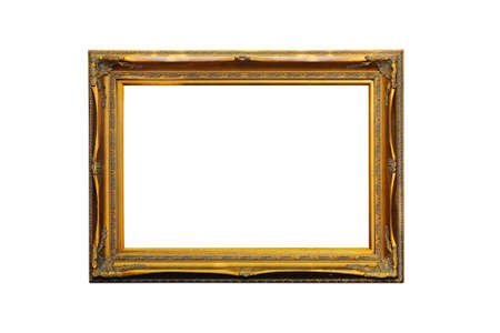 Gold Picture Frame Isolated Included Clipping Path Stock fotó