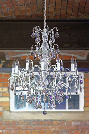 Crystal Chandelier With Tungsten Lamps Banco de Imagens