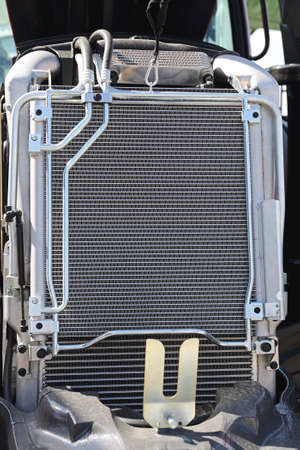 Aluminium Radiator Engine Cooling at Agriculture Tractor Stock Photo