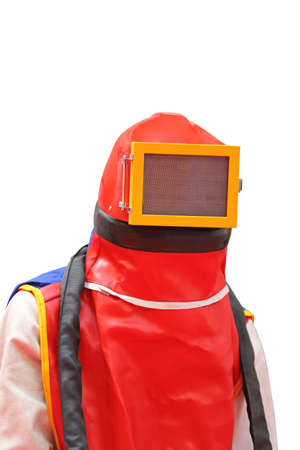 Sandblasting Worker Wearing Full Coverage Protective Gear Stock Photo