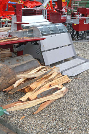 Fire Wood and Log Splitter Hydraulic Machine Stock Photo