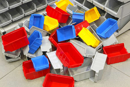 Big Bunch of Colorful Plastic Bins and Tubs