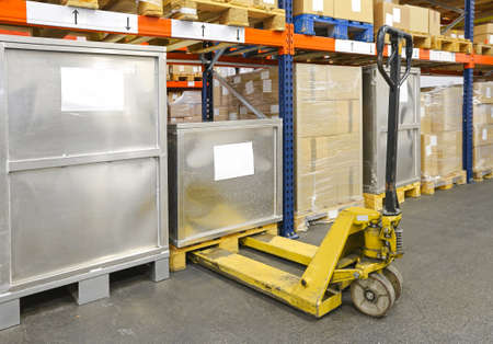 Pallet Jack Truck in Distribution Warehouse