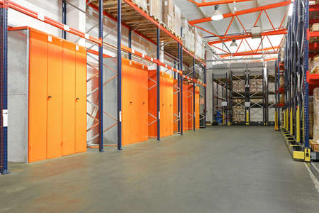 Lockers and Storage Shelves in Warehouse