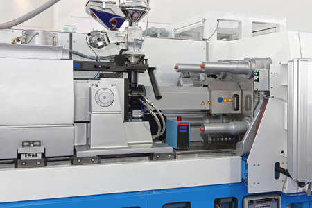 Injection Molding Machine for Plastic Parts Production Banco de Imagens