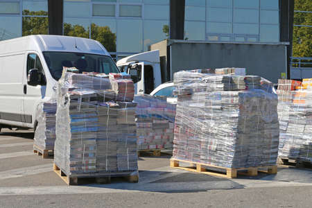 Magazines at Pallets Rady For Shipping Editorial