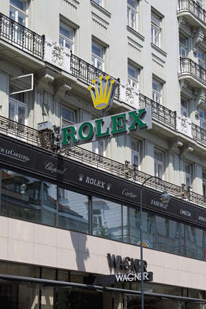 VIENNA, AUSTRIA - JULY 12, 2015: Rolex Clock Sign at Wagner Shop in Vienna, Austria. Editorial