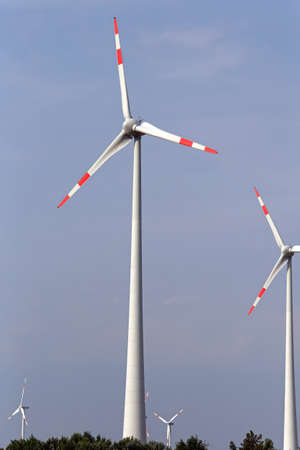 Tall Electric Wind Turbine in Hungary Plains
