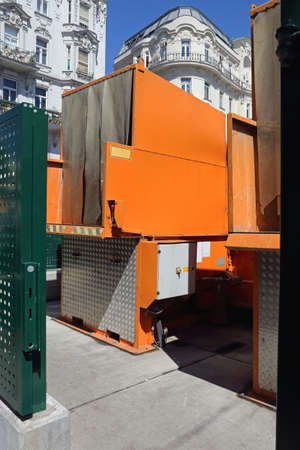 Press Container Compactor for Waste Disposal Hydraulic Bin Stock Photo