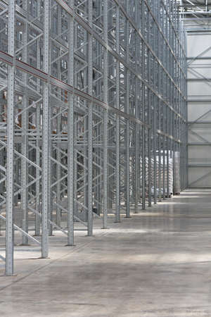 Row of Empty Shelves in New Distribution Warehouse