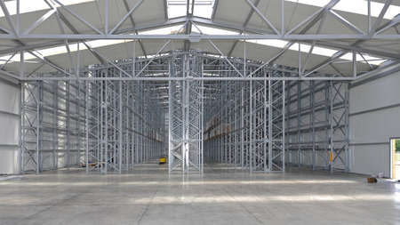 New Distribution Warehouse Interior With Empty Shelves