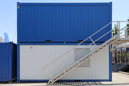 Cargo Containers Office With External Steel Stairs