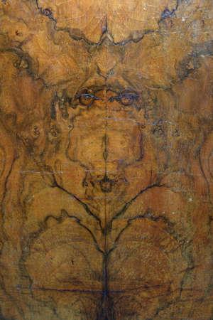 Antique Wood Veneer With Mirror Pattern Decor Archivio Fotografico - 99820894