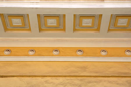 Plaster Wall Decor With Squares at Ceiling Stock Photo