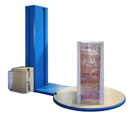 Pallet Stretch Wrapping Machine isolated Foto de archivo