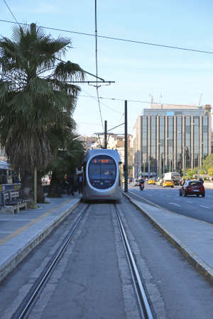 ATHENS, GREECE - MAY 04:, 2015: Public Transport Tram at Station Near Hellenic Parliament in Athens, Greece. Editöryel