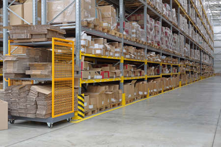 Long Shelving System in Distribution Center Warehouse 免版税图像 - 103832315