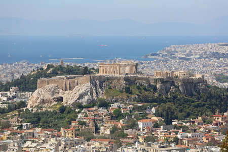 Acropolis Athens and Cityscape From Mount Lycabettus Stock Photo