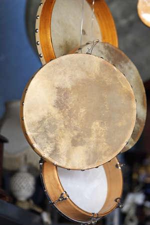 Bodhran Drum Musical Instruments at Flea Market 版權商用圖片