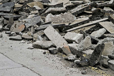 Asphalt Damage With Cracks at Street Disaster Stock Photo