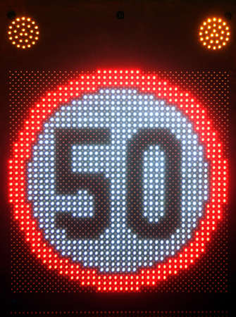 Speed Limit 50 Led Traffic Sign Warning 版權商用圖片
