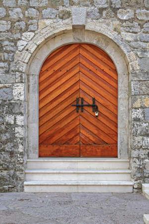 Wooden Arch Door at Fort in Budva Montenegro