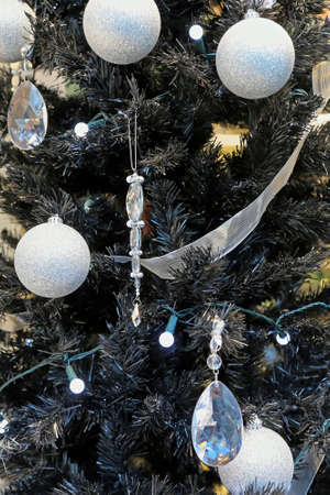 Black Christmas Tree With Silver Baubles and Crystal Ornaments