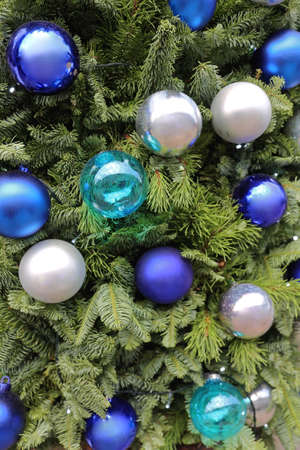 Christmas Tree With Blue Glass Baubles Ornaments