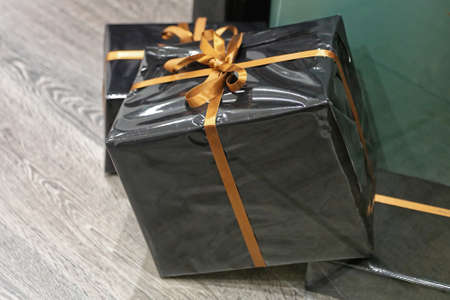 Big Gift Box With Golden Ribbon
