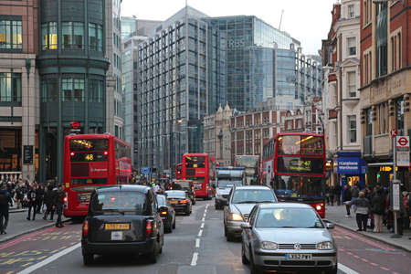 London, United Kingdom - November 23, 2013: Usual Rush Hour at Bishopsgate Street in London, UK.