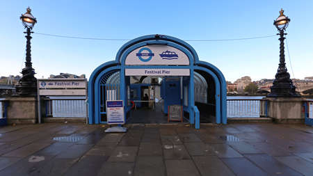 London, United Kingdom - November 20, 2013: Festival Pier Transport Terminal at South Bank  in London, UK.