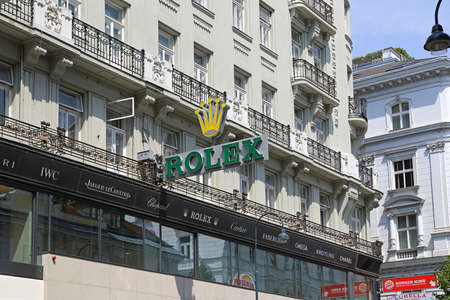 Vienna, Austria - July 12, 2015: Rolex Clock Sign at Wagner Shop in Vienna, Austria.