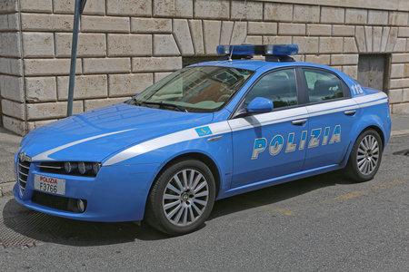 Rome, Italy - June 30, 2014: Italian Fast Police Car Alfa Romeo at Quirinale in Rome, Italy.