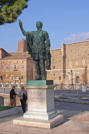 Rome, Italy - October 28, 2009: Imperator Caesari Nervae Avg Statue at Trajan Forum in Rome, Italy.