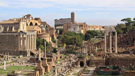 Rome, Italy - October 25, 2009: The Roman Forum and Ruins of Ancient City in Rome, Italy.