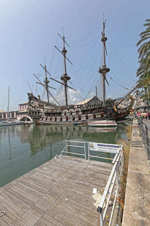 Genoa, Italy - July 14, 2013: Neptune Galeon Pirate Ship Docked at Port in Genoa, Italy.