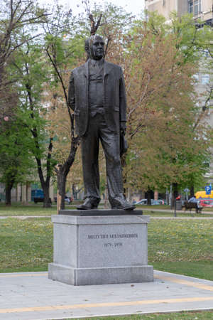 Belgrade, Serbia - April 11, 2019: Milutin Milankovic Famous Scientist Monument at Park in Belgrade, Serbia.