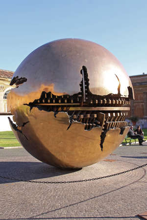 Vatican - October 26, 2009: Sphere Within Sphere Brass Globe Sculpture in Vatican City.